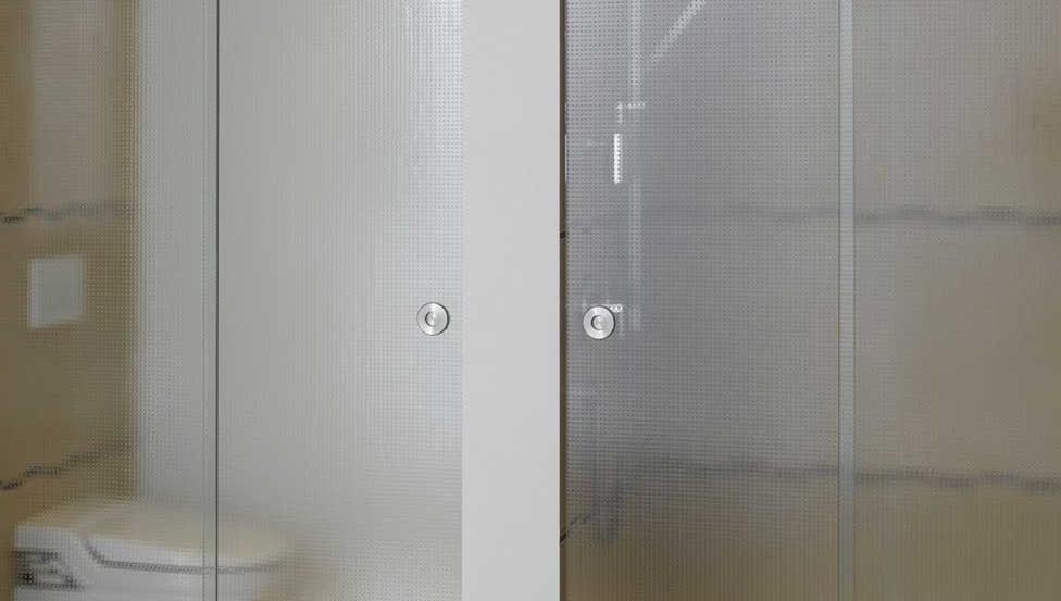 Scheidingswanden in de badkamer met het helder & gekleurd figuurglas DECORGLASS