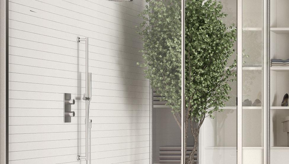 La parete doccia con Timeless di Saint-Gobain il vetro anti calcare e bassa manutenzione
